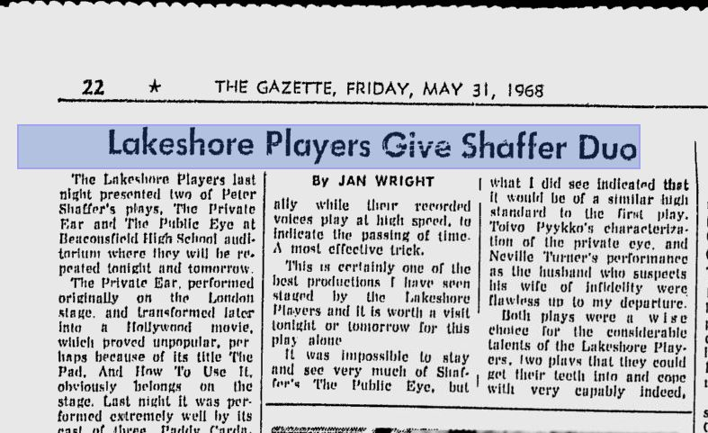 THE PRIVATE EAR / THE PUBLIC EYE - Montreal Gazette 1968-05-31