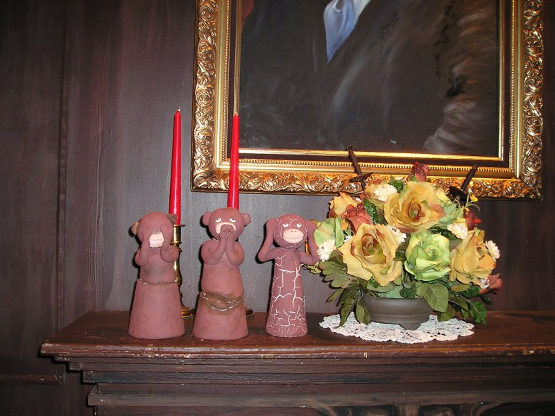 figurines on the mantle